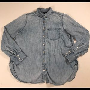 J Crew Denim button down shirt light blue womens M